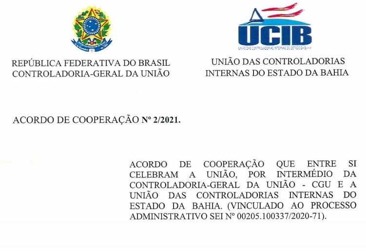 UCIB FIRMA ACORDO DE COOPERAÇÃO COM A CGU